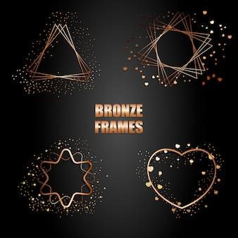 Conjunto de marcos metálicos de bronce con destellos.