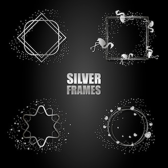 Conjunto de marcos metálicos de plata vector