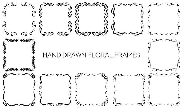 Conjunto de marcos de monograma ornamentales dibujados a mano vector decorativo elementos de diseño floral colección ve ...