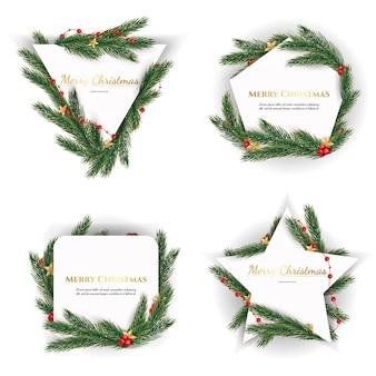 Conjunto de marcos navideños de diferentes formas sobre un fondo blanco