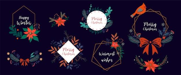 Conjunto de marcos navideños con flora de invierno.