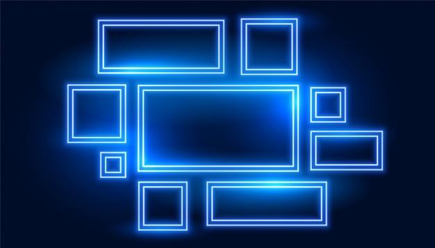 Conjunto de marcos de neón azul en muchos tamaños.