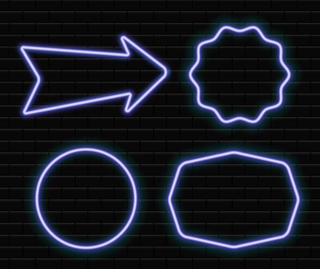 Conjunto de marcos de neón brillantes en círculo de neón de ladrillo de pared