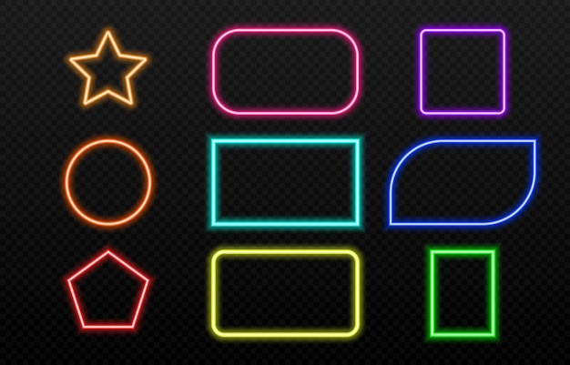 Conjunto de marcos de neón de diferentes colores.