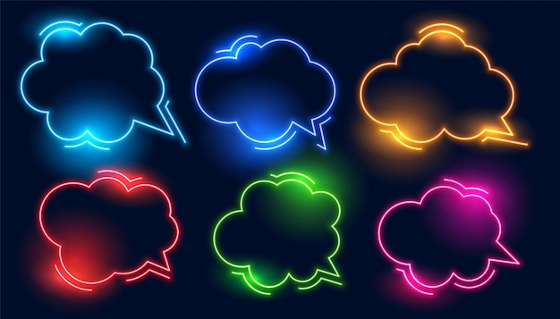 Conjunto de marcos de neón estilo nube de chat