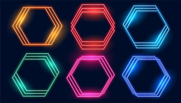 Conjunto de marcos de neón hexagonales de seis colores.