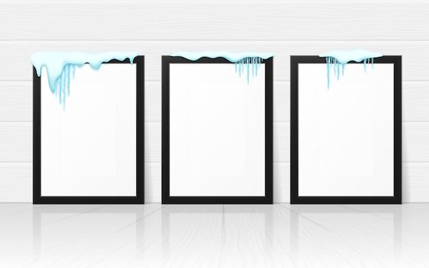 Conjunto de marcos con nieve realista y carámbanos.