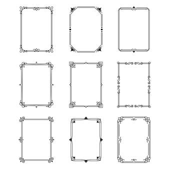 Conjunto de marcos ornamentales caligráficos