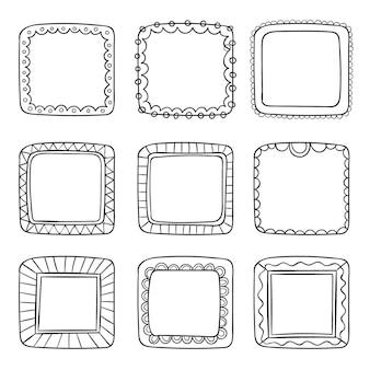 Conjunto de marcos ornamentales dibujados