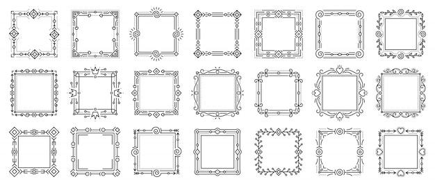 Conjunto de marcos ornamentales vintage vivos, marcos de texto para certificado, libro de menú, tarjeta de boda.