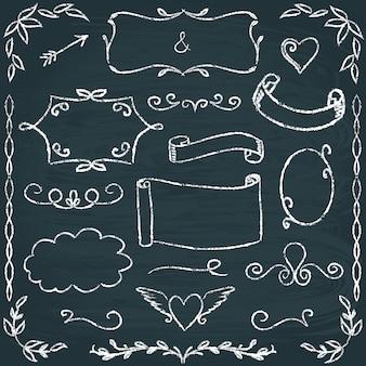 Conjunto de marcos de pizarra dibujados a mano