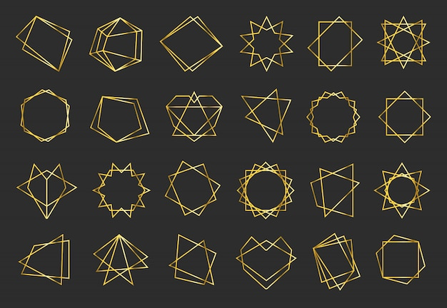 Conjunto de marcos planos geométricos dorados