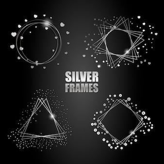 Conjunto de marcos de plata vector