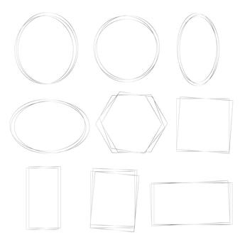 Conjunto de marcos plateados de formas simples. fondo de arte lineal