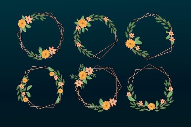 Conjunto de marcos poligonales dorados con elegantes flores.