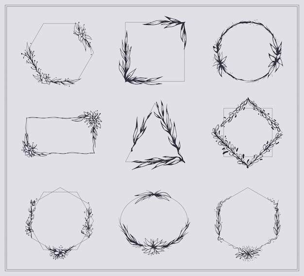 Conjunto de marcos con ramas y flores