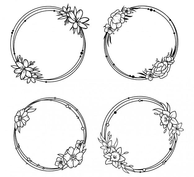 Conjunto de marcos redondos florales. colección de hermosos arreglos florales con ramas de primavera.