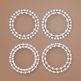 Conjunto de marcos redondos de perlas