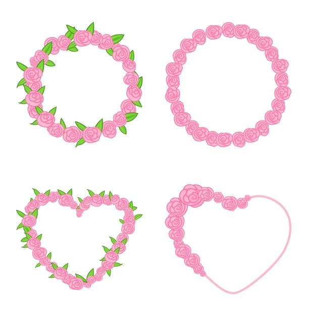 Conjunto de marcos de rosas hermosas, gráficos vectoriales. hermosos marcos