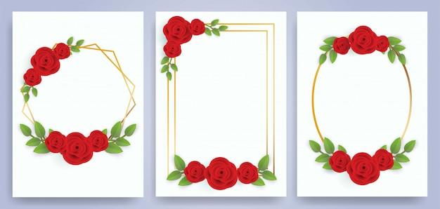Conjunto de marcos de rosas para tarjetas de felicitación y tarjetas de boda.