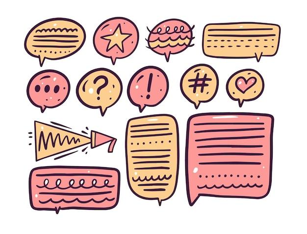 Conjunto de marcos de texto de burbujas de discurso colorido.