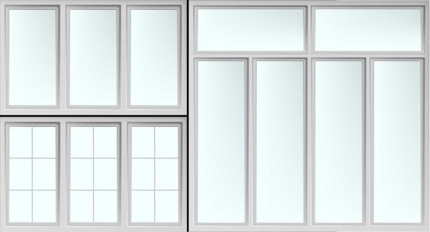 Conjunto de marcos de ventanas brillantes aislados con vasos cerrados.