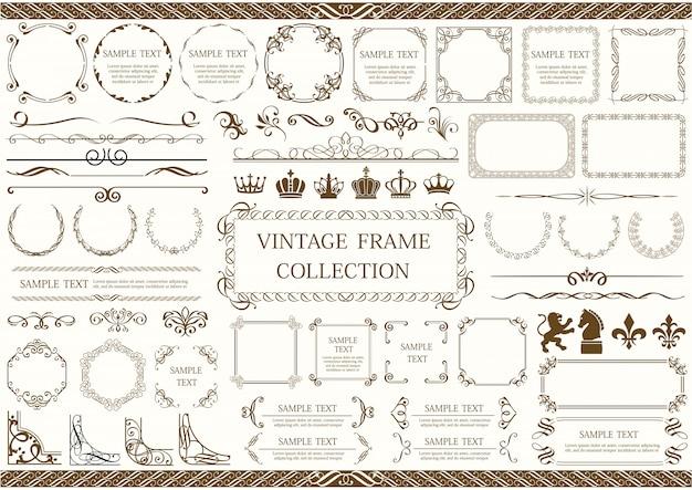 Conjunto de marcos vintage y bordes aislados en un fondo liso.