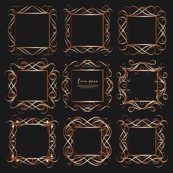 Conjunto de marcos vintage divisores de oro.