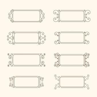 Conjunto de marcos vintage. marco con remolinos y decoración de las hojas, marco monocromo en estilo vintage.