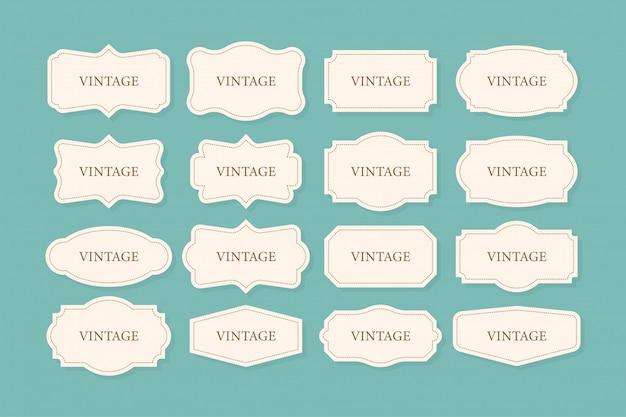 Conjunto de marcos vintage, paquete de imágenes prediseñadas. colección retro para decoración. marco de la colección retro para decorativos. ilustración.
