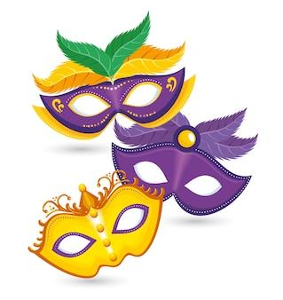 Conjunto de mardi gras máscara de carnaval púrpura y amarillo