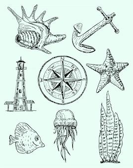 Conjunto marino estilo dibujado a mano