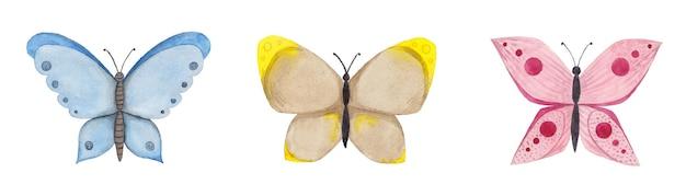 Conjunto de mariposas de colores acuarelas