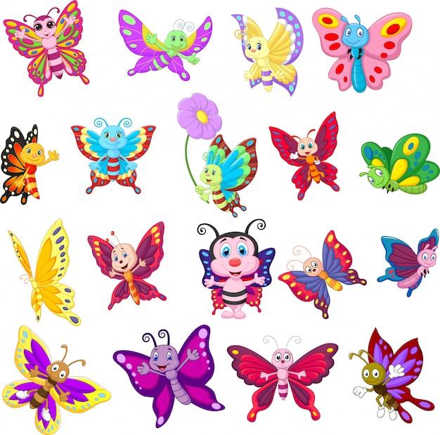Conjunto de mariposas de dibujos animados