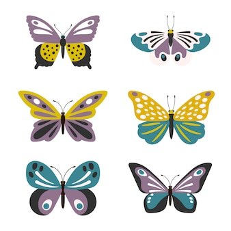 Conjunto de mariposas lindas