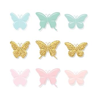Conjunto de mariposas lindos dibujos animados.