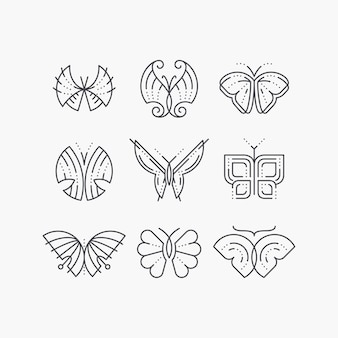 Conjunto de mariposas de línea vacía. esquema gráfico monocromático iconos de moda, logotipos, marcas.