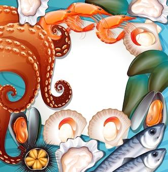 Conjunto de mariscos frescos