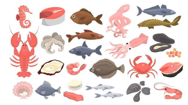 Conjunto de mariscos. rodaja de salmón y camarones, mariscos.