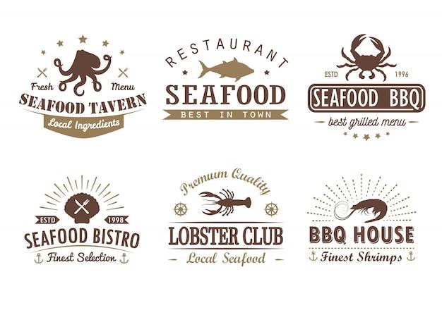 Conjunto de mariscos vintage, barbacoa, plantillas de logotipo de parrilla, insignias y elementos de diseño