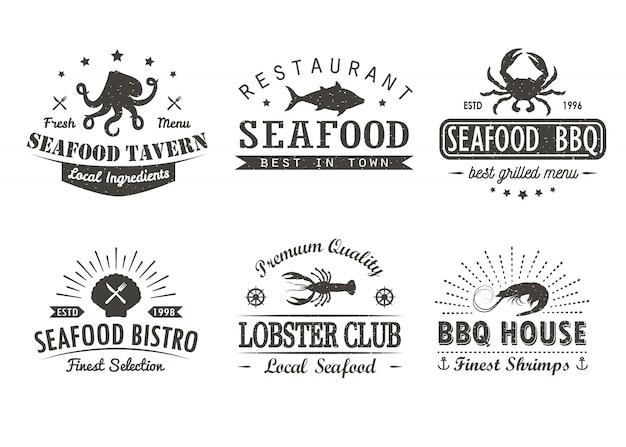 Conjunto de mariscos vintage, barbacoa, plantillas de logotipo de parrilla, insignias y elementos de diseño.