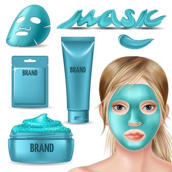 Conjunto de máscara de aluminio azul y exfoliante para publicidad facial