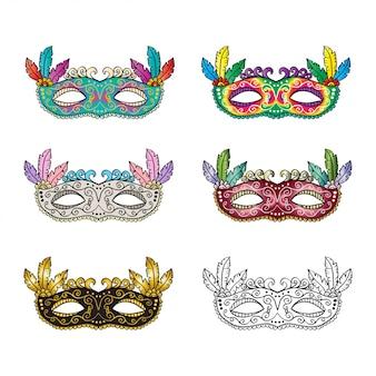Conjunto de máscara de carnaval