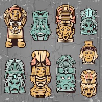 Conjunto de máscaras aztecas de colores vintage
