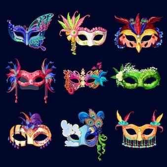Conjunto de máscaras de carnaval adornadas coloridas