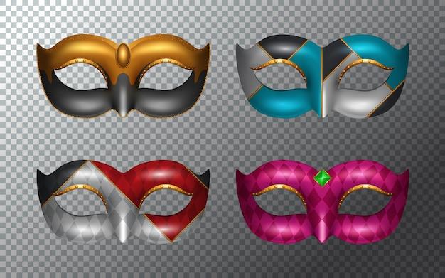 Conjunto de máscaras de carnaval aislado sobre fondo blanco.