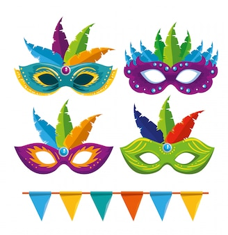Conjunto de máscaras de carnaval con decoración de plumas y pancarta de fiesta
