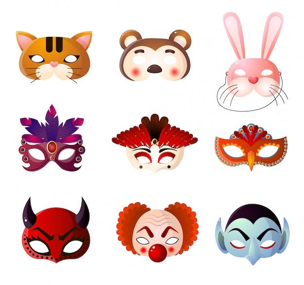 Conjunto de máscaras de carnaval, halloween y animales sobre fondo blanco.