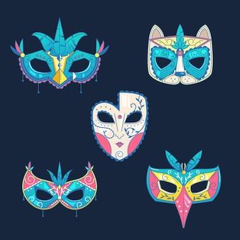 Conjunto de máscaras de carnaval veneciano sobre fondo azul.