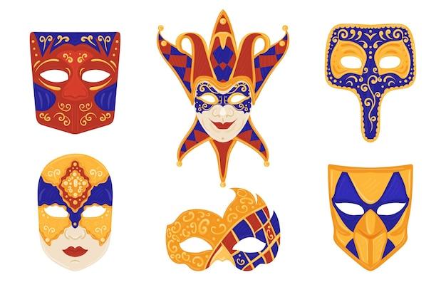 Conjunto de máscaras de carnaval veneciano sobre fondo blanco.
